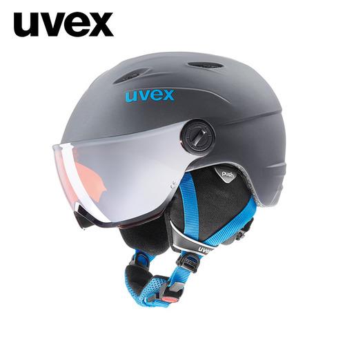 우벡스 1718 아동용 바이저 스키 헬멧uvex junior visor pro titanium-blue mat