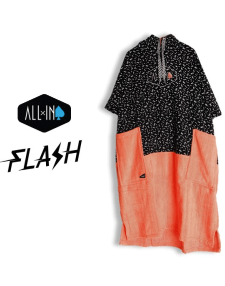 ALL IN V-FLASH PONCHO_ALL-IN PRINT,CORAL (올인 판초,비치타올)